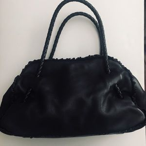 💯FURLA Leather Braided Black Shoulder Bag❤️